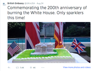 British Embassy Tweet Burning DC